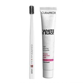 CURAPROX set: Crna zubna pasta za izbjeljivanje White is Black i četkica za zube CS 5460