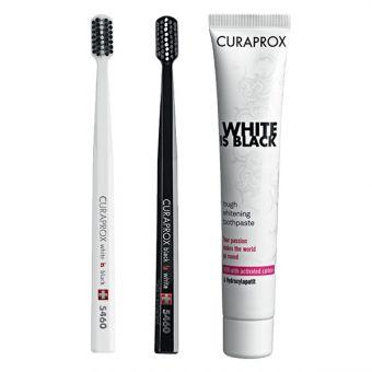 CURAPROX set: Crna zubna pasta za izbjeljivanje White is Black i dvije četkice za zube CS 5100